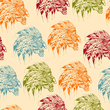 Seamless Pattern with Bright American Indians, fully editable  Vector