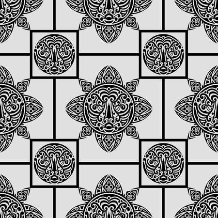 seamless pattern with polynesian symbols Vector