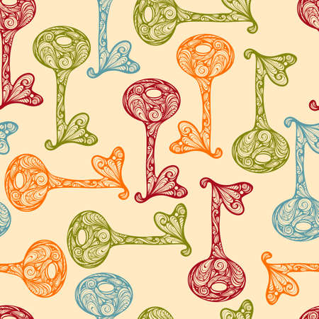 Seamless Pattern with Bright Hand Drawn Keys Illustration