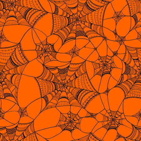 seamless pattern with  spider web on orange Vector