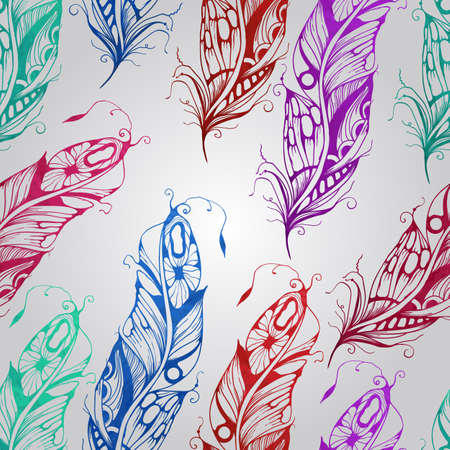seamless pattern with  watercolor feathers, seamless pattern in swatch menu Vector