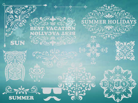 Summer Design elements on Background  Vector