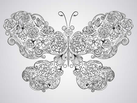 butterfly made of flowers, fully editable  Vector