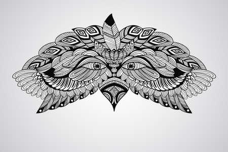 tattoo black  hand drawn, highly detailed eagle head