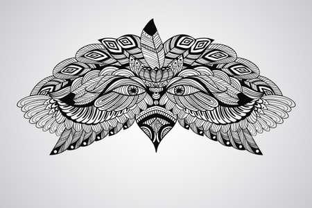 indian chief mascot: tattoo black  hand drawn, highly detailed eagle head