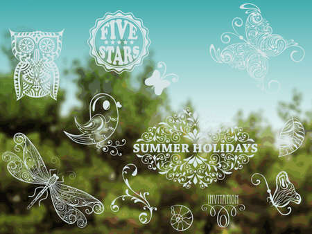 eccentric: Vector Summer Design Elements on Background with green forest and blue sky, place for your text, Cooper Black Std and Eccentric Std  fonts used in example Illustration