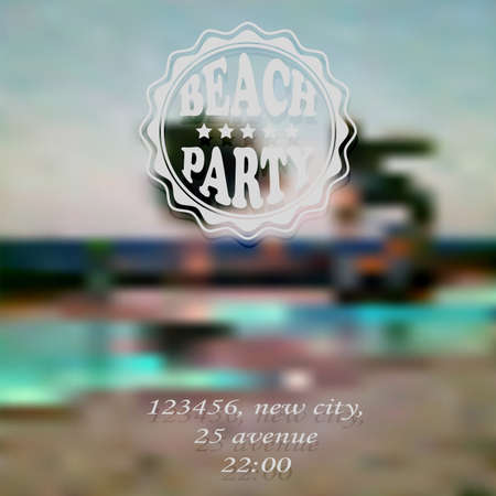 std: Vector Beach Party Invitation, fully editable eps 10 file with gradient mesh and transparency effects, Cooper std and monotype coursiva fonts in example