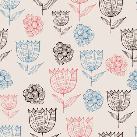 Seamless Doodle Floral Pattern with Tulips Vector