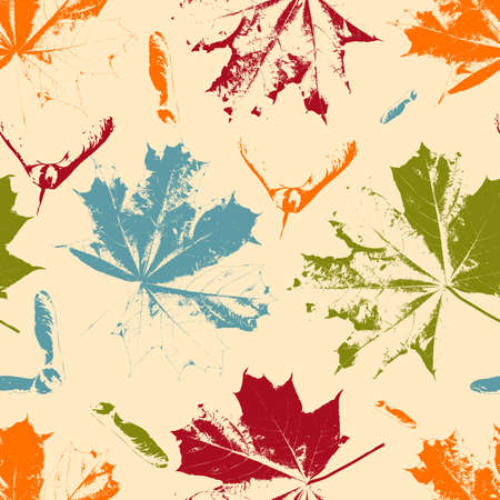 macro leaf: Seamless Floral Pattern with bright maple leaves and seeds