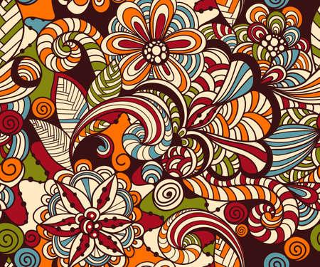 east africa: Seamless Doodle Floral Pattern Illustration
