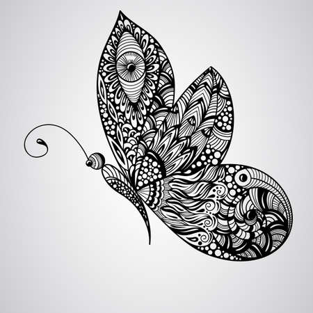 indian tattoo: vector black butterfly, tettoo syle,