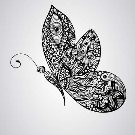amerikalılar: vektör siyah kelebek, tettoo syle,