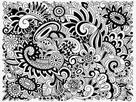Vector monochrome Doodle Floral Pattern