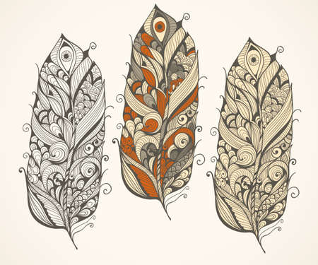 indian headdress: Vector highly detailed doodle  feathers Illustration