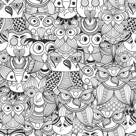 落書きフクロウとのシームレスなパターン ベクトル