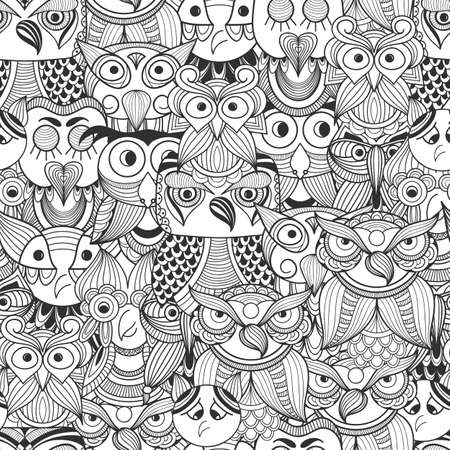wise old owl: Vector Seamless Pattern with Doodle owls