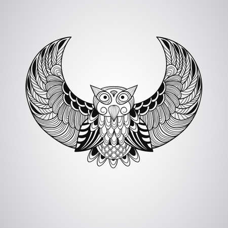 american indian aztec: Black  Owl, Tattoo Style