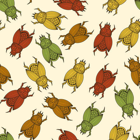 scarab: seamless pattern with  scarab beetles Illustration