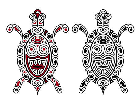polynesian: Turtle, tattoo style, black, and black-red Illustration