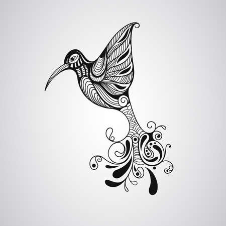 american indian aztec: Hummingbird, tattoo style Illustration