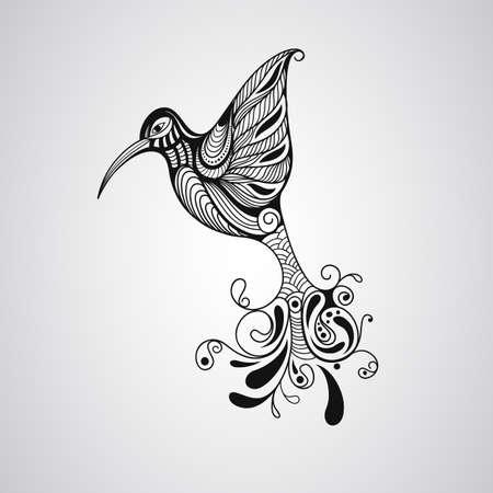 indian mask: Hummingbird, tattoo style Illustration