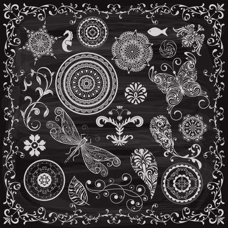 vintage floral chalk drawn design elements on the blackboard Vector