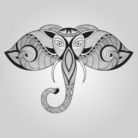 Doodle Elephant, Tattoo Style Vector