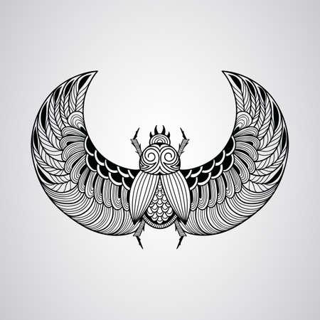 scarab: scarab beetle, tattoo style Illustration