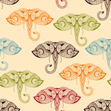 Vector Seamless Pattern with Bright Doodle Elephants Vector
