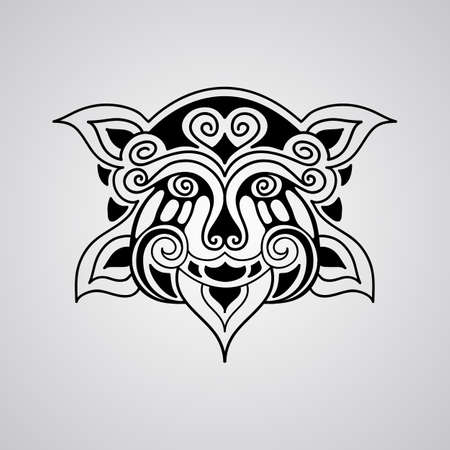 hawaiian culture: vector lion face tattoo sketch, Polynesian tattoo style