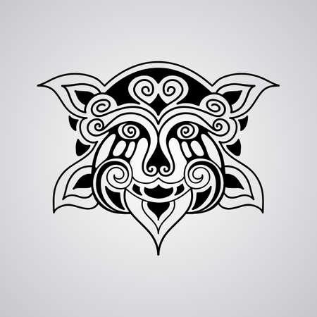 shaman: vector lion face tattoo sketch, Polynesian tattoo style