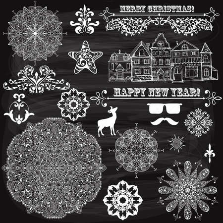 vector vintage holiday  design elements  and snowflakes, fully editable eps 10 file, standard AI fonts, chalk background with transparency effects Vector