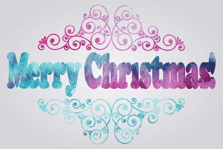 christmas watercolor: Vector Merry Christmas Watercolor Greetings