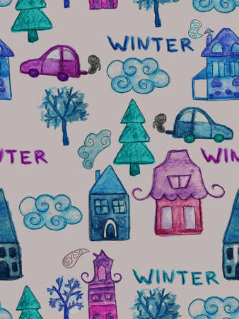 Vector Seamless Pattern with Watercolor Winter Houses Vector