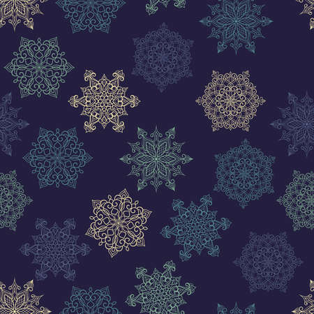 Vector Seamless Pattern with white snowflakes, seamless pattern in swatch menu