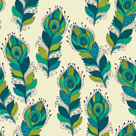 peacock pattern: Vector seamless Pattern with peacock feathers, fully editable eps 10 file with clipping mask and seamless pattern in swatch menu