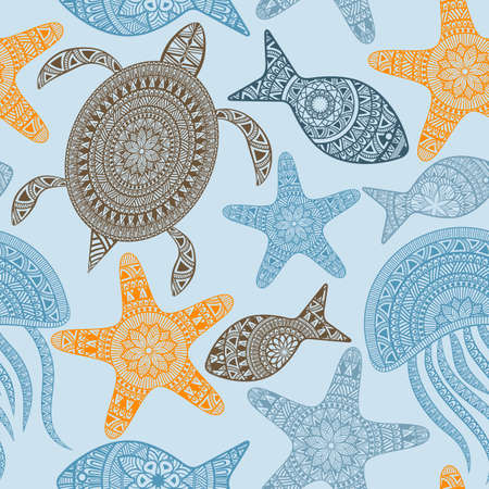 Vector Seamless Pattern with turtles, starfishes, and jellyfishes, seamless pattern in swatch menu Illustration