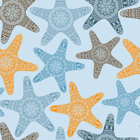 sea star: Vector Seamless Pattern with Doodle Stars, fully editable  eps 10 file with clipping mask and seamless pattern in swatch menu, stars can be used separatele
