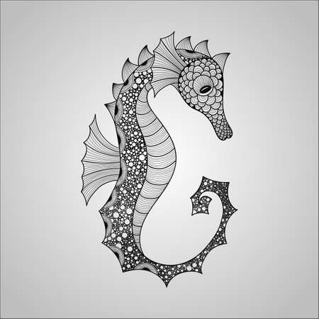 Vector Seahorse, black on gradient background, tattoo style