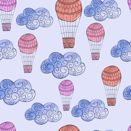 Vector Seamless Pattern with Watercolor Clouds and Air Balloons, fully editable eps 10 file with clipping mask and seamless pattern in swatch menu Vector