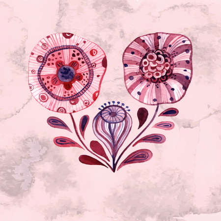 Vector  WatercolorFlowers,  transparency effects