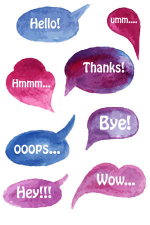 speach: Vector Watercolor Speach Bubbles Set with Short Phrases on Separate Layer Illustration