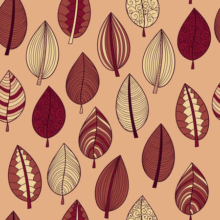 textile texture: Vector Seamless Pattern with Autumn Leaves Illustration