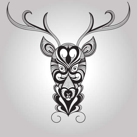 nature silhouette: Vector Deer, Tattoo Style