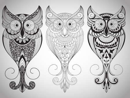 Vector Owls, Tattoo Style Illustration
