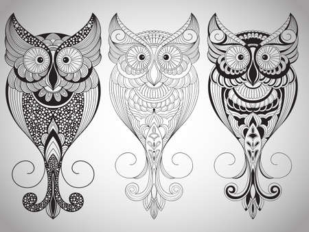 indian chief mascot: Vector Owls, Tattoo Style Illustration
