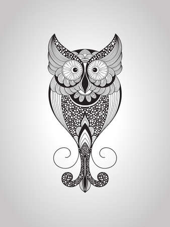 native bird: Vector Owl, Tattoo Style