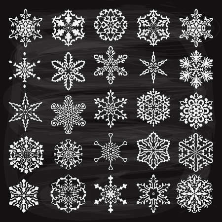 design abstract: vector vintage holiday  design elements  and snowflakes, fully editable eps 10 file, chalk background with transparency effects