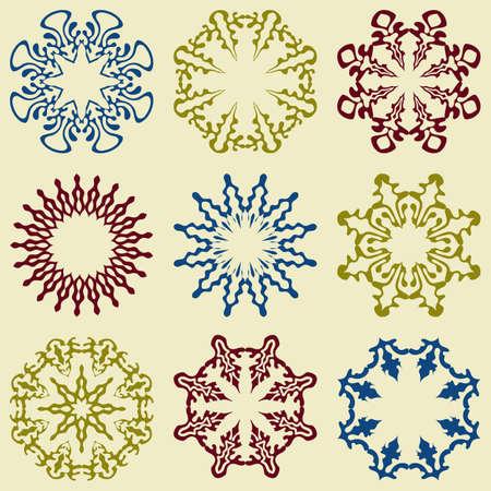 vintage patterns: Vector  9 Floral Design Elements
