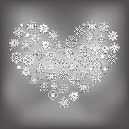 holly day: Heart Made of White Snowflakes Illustration
